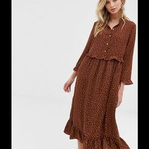 ASOS Vila NWT Brown Vintage Look Midi Dress